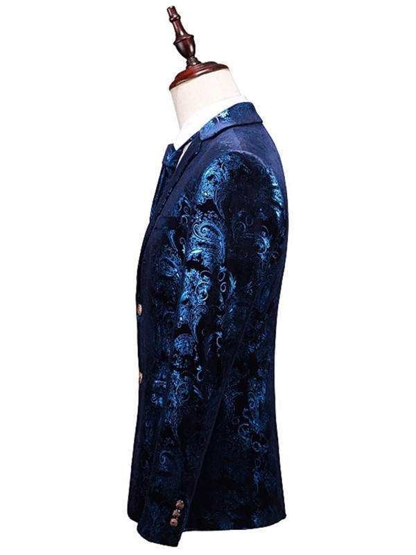 Floral Blazer Vest Pants Formal Men's Dress Suit