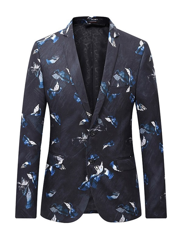 Simple Print Single-Breasted Notched Lapel Men's Blazer