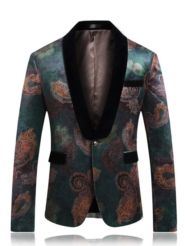 One Button Floral Men's Slim Fit Blazer