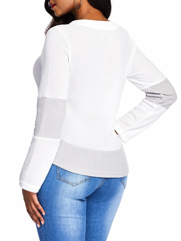 Criss Cross Lace-Up Round Neck Women's Sweater