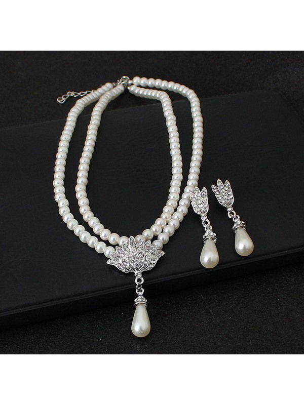 Floral Pearl Inlaid European Jewelry Sets (Wedding)