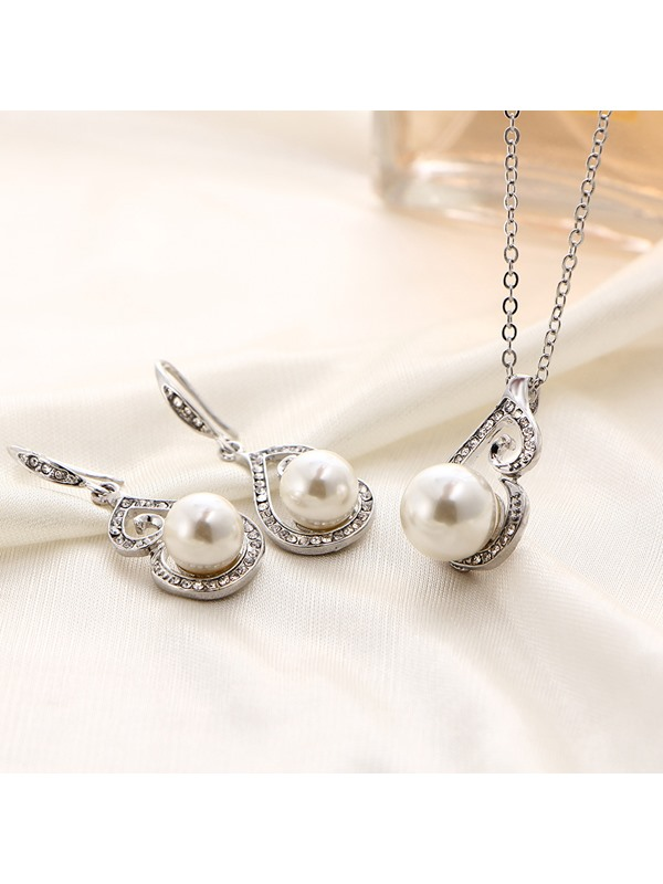 Floral Korean Pearl Inlaid Jewelry Sets (Wedding)
