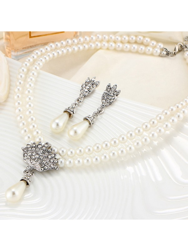 Floral Pearl Inlaid Korean Jewelry Sets (Wedding)