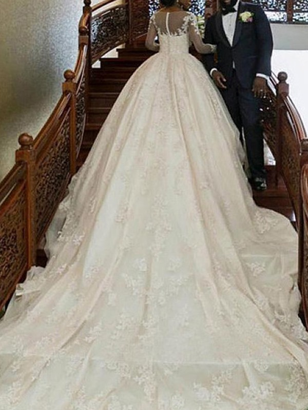 Long Sleeves Appliques Cathedral Train Ball Gown Wedding Dress 2019