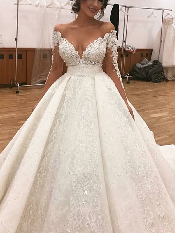 Sexy Sequins Appliques Long Sleeves Wedding Dress 2019