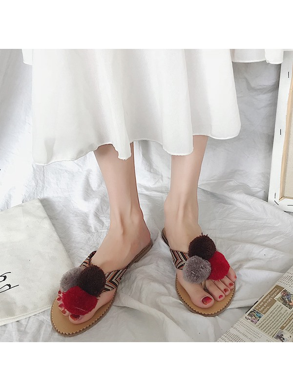 Pompon Thong Women's Casual Slippers
