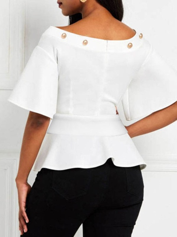 Flare Sleeve Plain Off Shoulder Half Sleeve Women's Blouse
