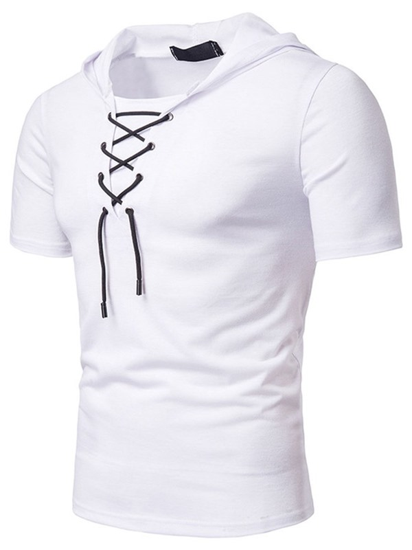 Lace-Up Hooded Casual Plain Slim Men's T-shirt