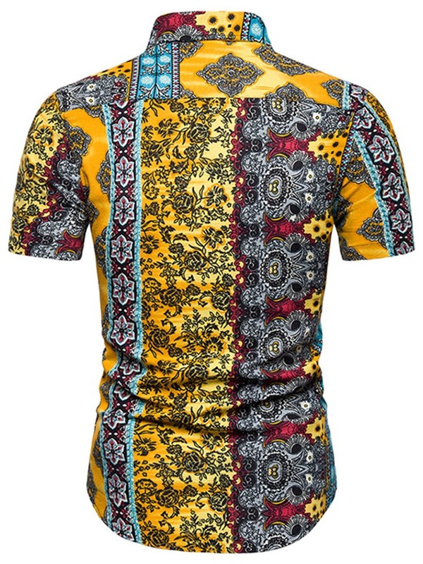 Ethnic Floral Lapel Print Short Sleeve Men's Shirt