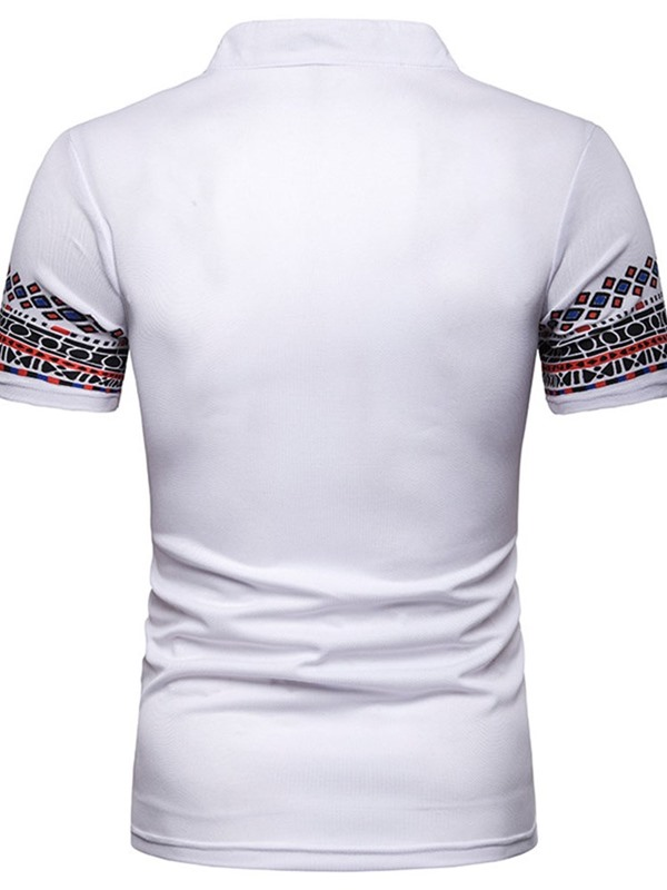 Ethnic Geometric Print Patchwork Stand Collar Men's Polo