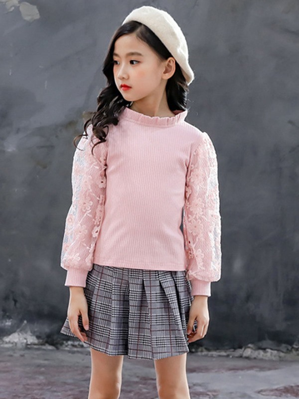 Plain Sweater Plaid Skirt Girls' Two Piece Set