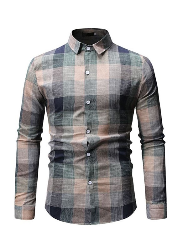 Fashion Lapel Color Block Plaid Men's Shirt