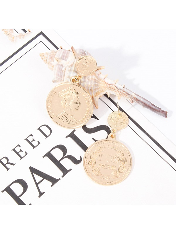 Figure Pattern Gold Coin E-Plating Drop Earrings