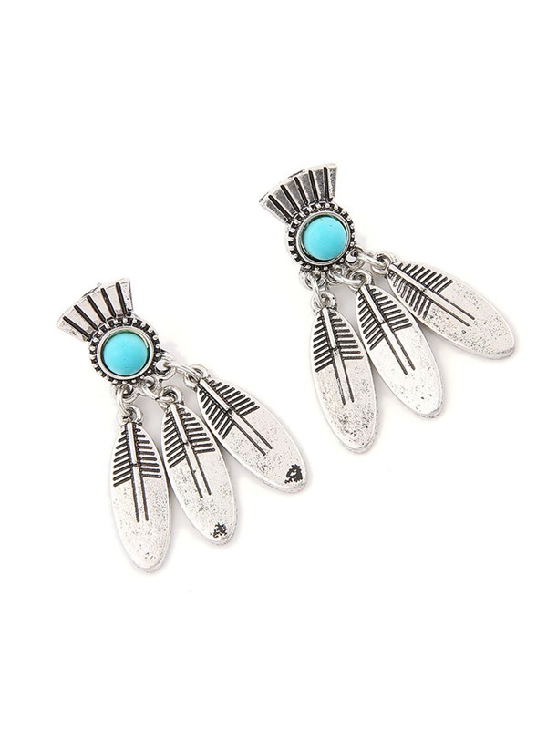 Leaf Shape Turquoise Party Earrings