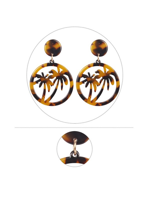 Resin Coconut Tree Shape Beach Drop Earrings
