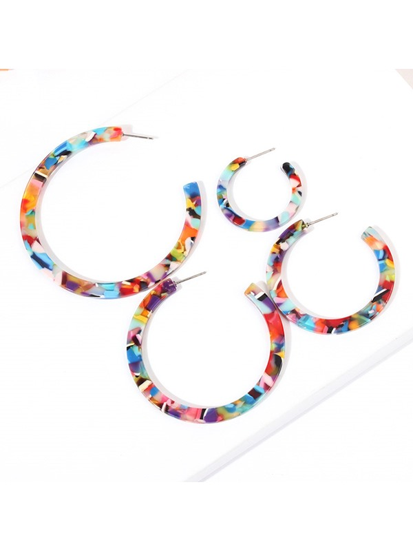 Colorful Resin Holiday Pierced Earrings Set