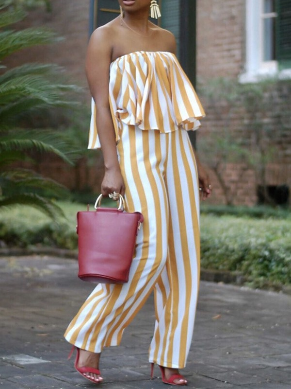 Fashion Full Length Stripe Loose Wide Legs Women's Jumpsuit