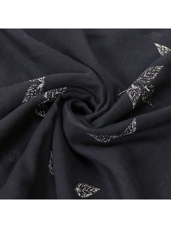 Leaf Pattern Embroidery Cotton Soft Lighter Scarf
