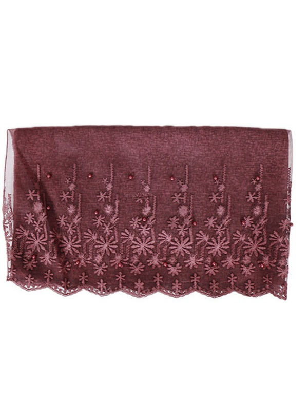 Ethnic Pearl Decorated Floral Pattern Muslim Scarf