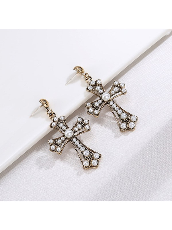 Cross Shape 925 Silver Needle Pearl Drop Earrings