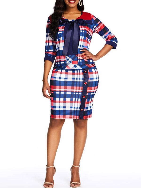 Office Lady Coat Plaid Bodycon Dress Women's Two Piece Set