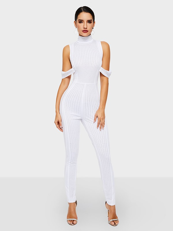 Full Length Party/Cocktail Bead Pencil Pants Skinny Women's Jumpsuit