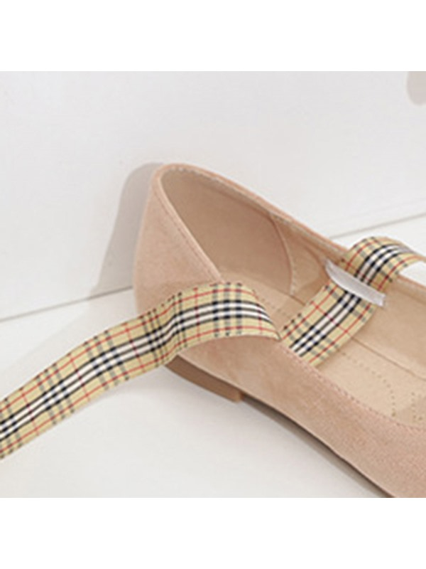 Faux Suede Bow Pointed Toe Low Heel Women's Flats