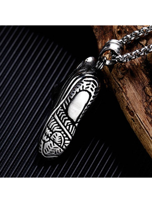 Stainless Steel Sports Shoes Pendant Necklace Punk Chain