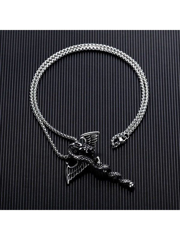 Dragon Stainless Steel Black Pearl Necklace for Men