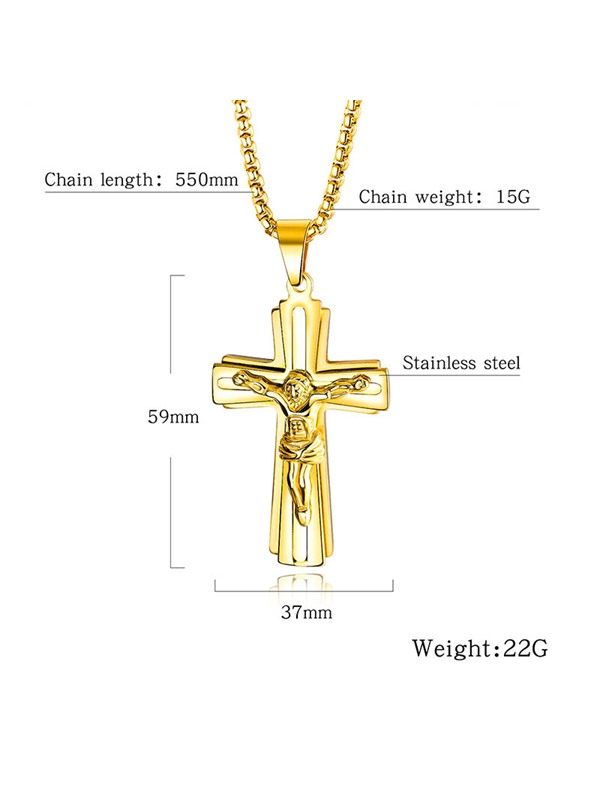 Cross Gold Color Stainless Steel Men's Necklace