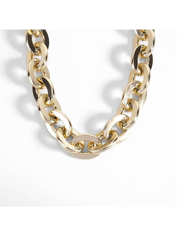 Concise Gold Color Stainless Steel Bracelet Necklace Jewelry Set