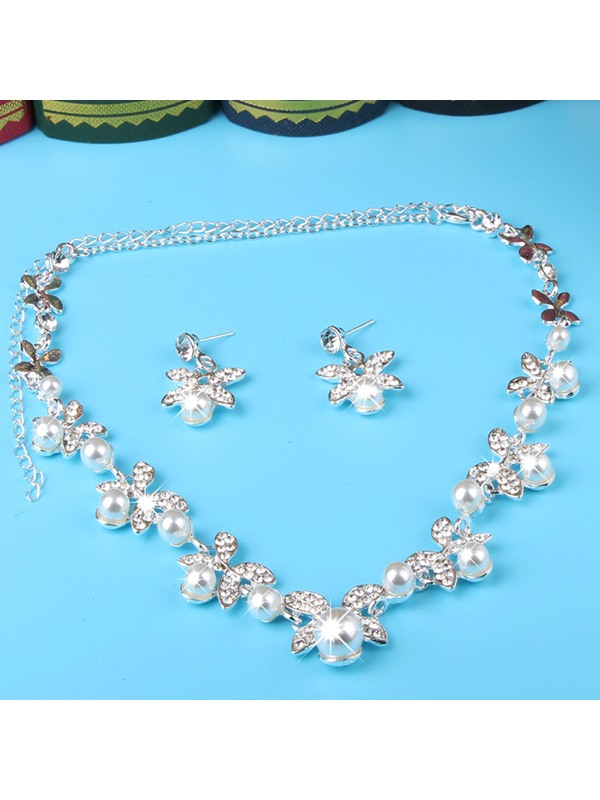 Floral Earrings Pearl Inlaid Jewelry Sets (Wedding)