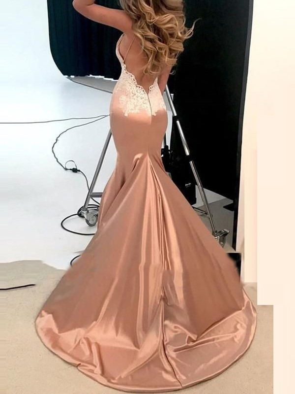 Lace Appliques Mermaid Backless Evening Dress 2019