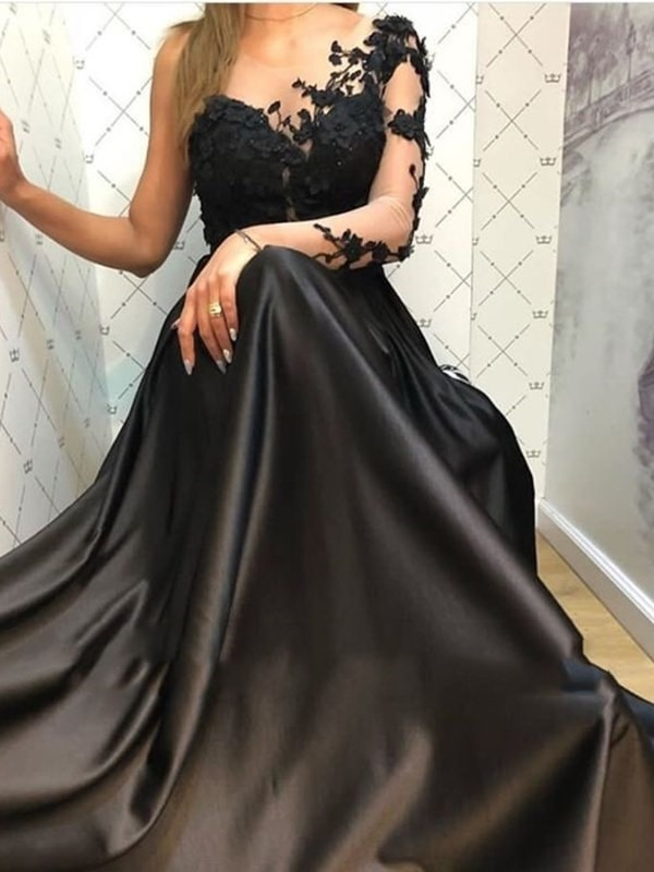 Floor-Length Sweep Train Appliques Long Sleeves Evening Dress 2019