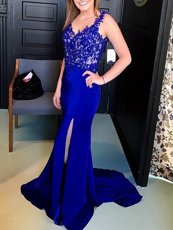 Beading Floor-Length Trumpet Sleeveless Evening Dress 2019