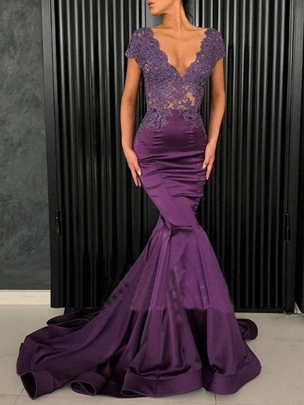 Cap Sleeves Beading Appliques Mermaid Evening Dress 2019