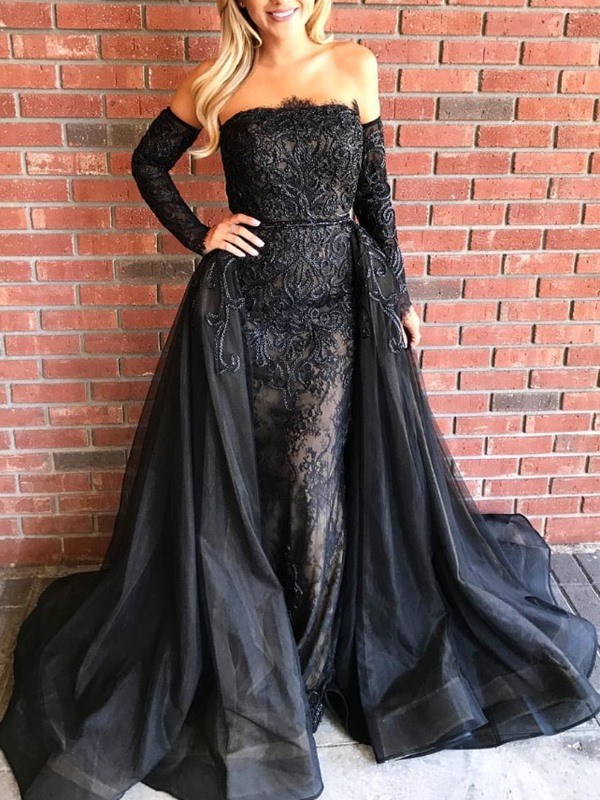 Sheath Strapless Long Sleeves Evening Dress with Train