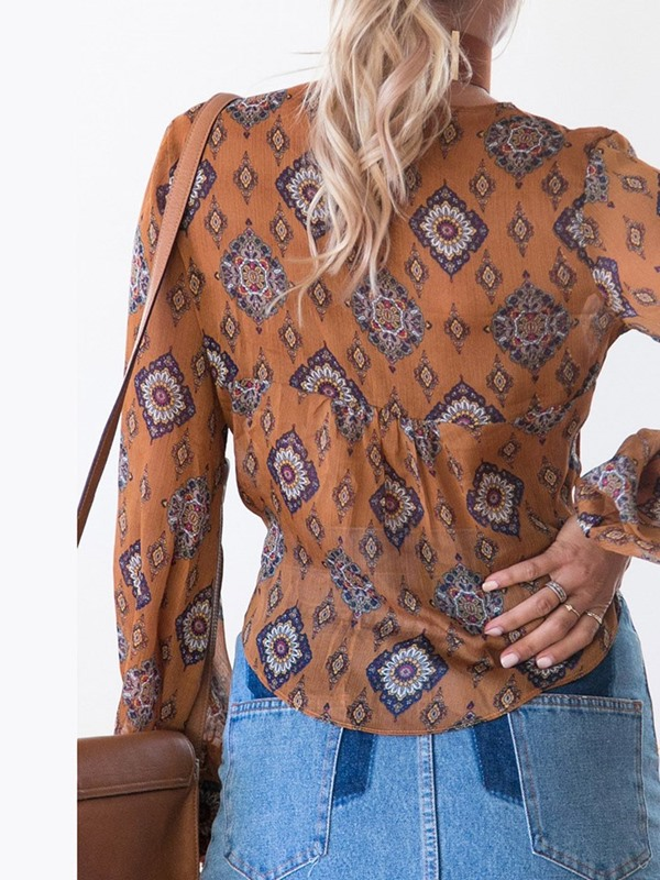 Floral Print Lace-Up Sexy Long Sleeve Women's Blouse