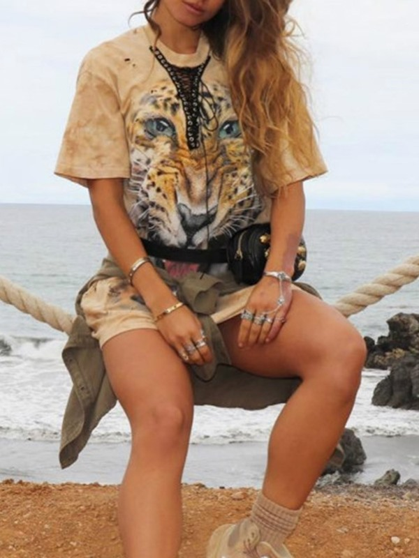 Mid-Length Round Neck Animal Fashion Loose Women's T-Shirt