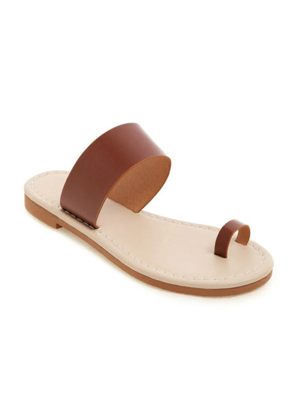 Plain Slip-On Block Heel Toe Ring Women's Slippers