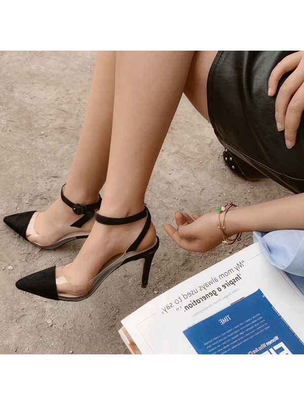 PVC Buckle Closed Toe Ankle Strap Casual Pumps