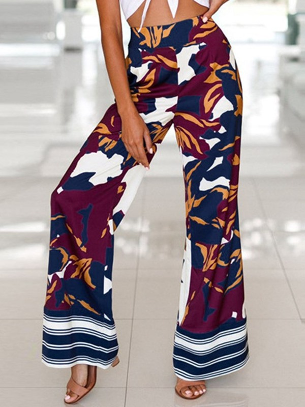 Floral Print Loose High Waist Full Length Women's Casual Pants