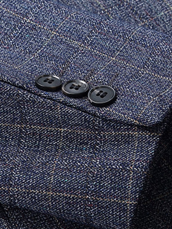 Plaid Notched Lapel Two Buttons Men's Blazer