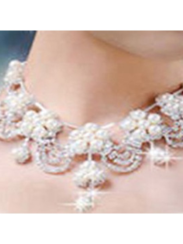 Necklace Korean Floral Jewelry Sets (Wedding)