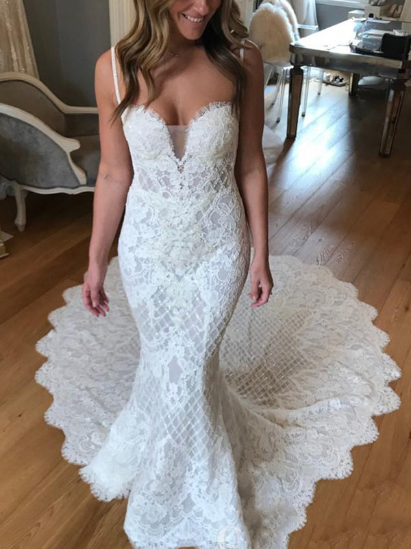 Lace Mermaid Chapel Spaghetti Straps Hall Wedding Dress 2019