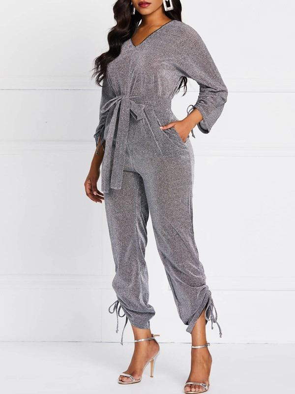 Full Length Lace-Up Casual High Waist Slim Women's Jumpsuit