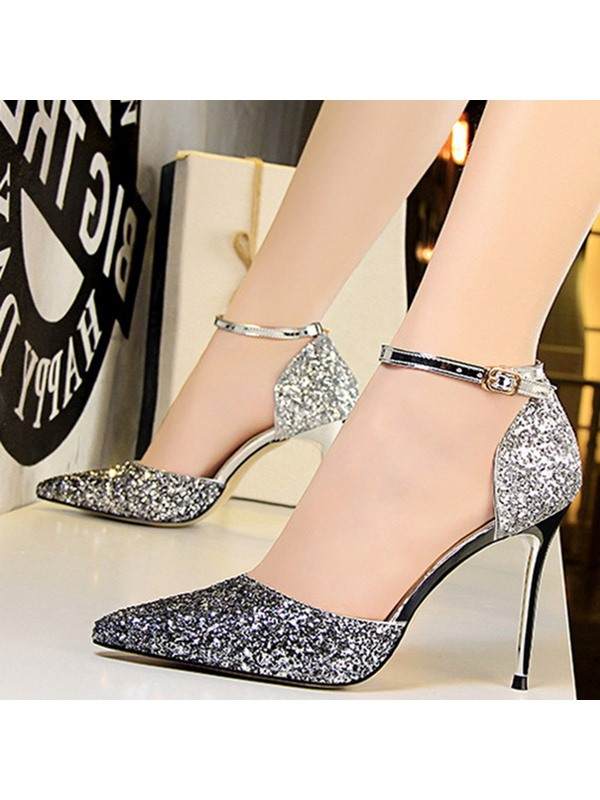 Sequin Heel Covering Line-Style Buckle Pointed Toe Pumps