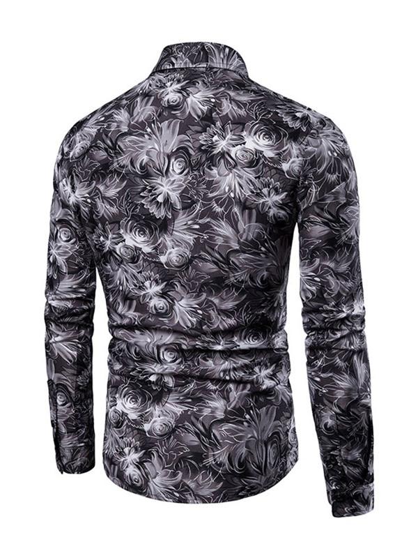 Lapel Floral Print Single-Breasted Men's Shirt