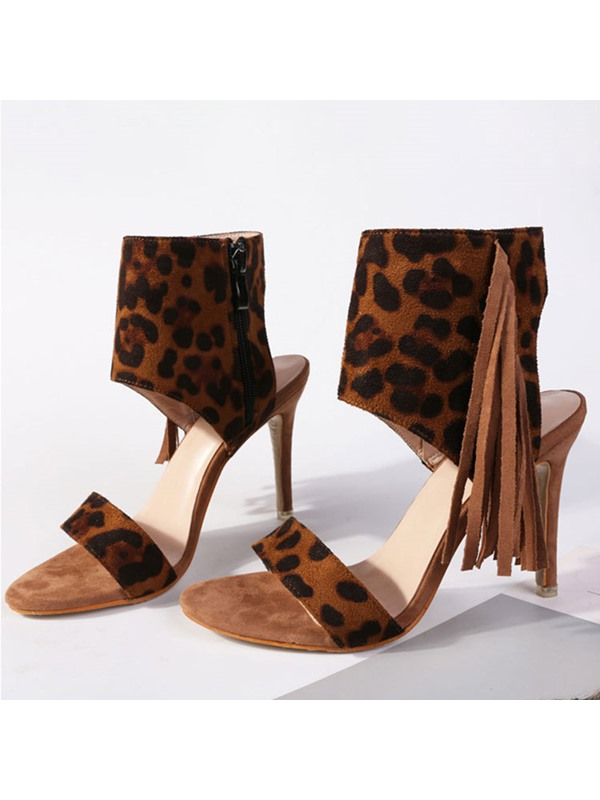 Fringe Leopard Print Open Toe Stiletto Heel Women's Sandals
