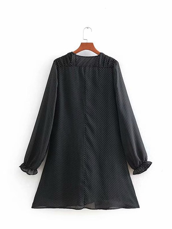 Above Knee Long Sleeve V-Neck Pullover Women's Casual Dress